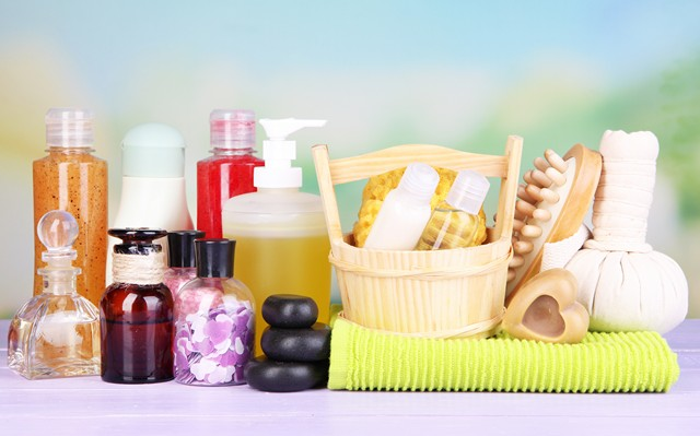 bottles of shampoos and soaps
