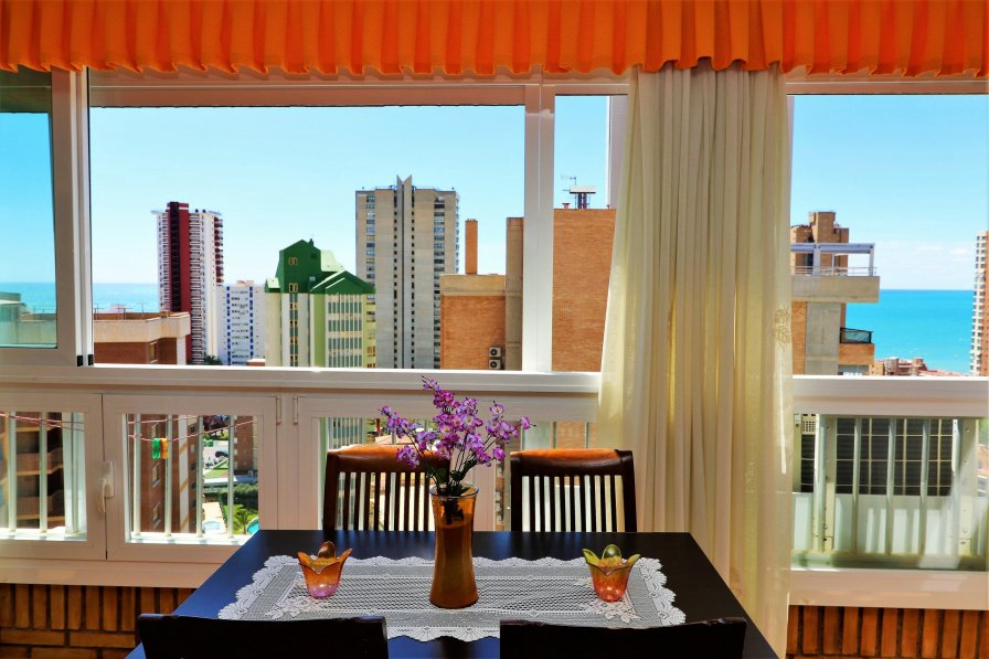 table in Benidorm apartment window