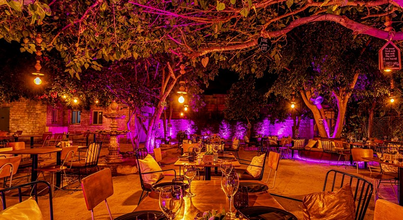 outdoor eating area at  Dionysus Mansion in Limassol