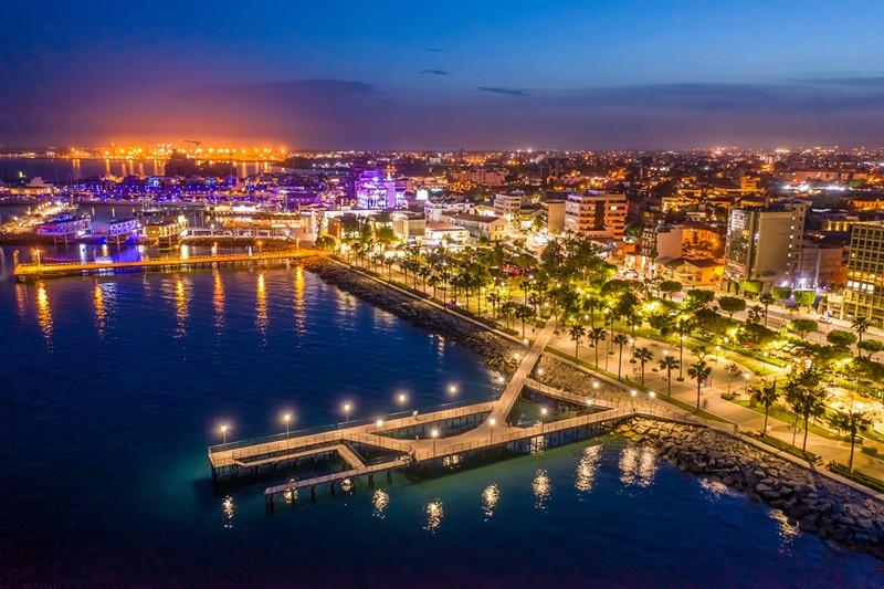 night time in Limassol