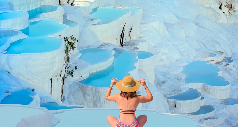 Pamukkale pools with woman