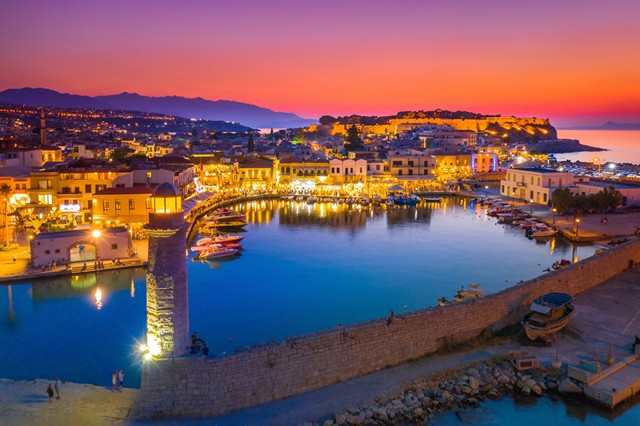 Rethymno harbour at sunset