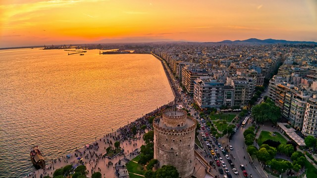 birds eye view of the white tower in Thessaloniki