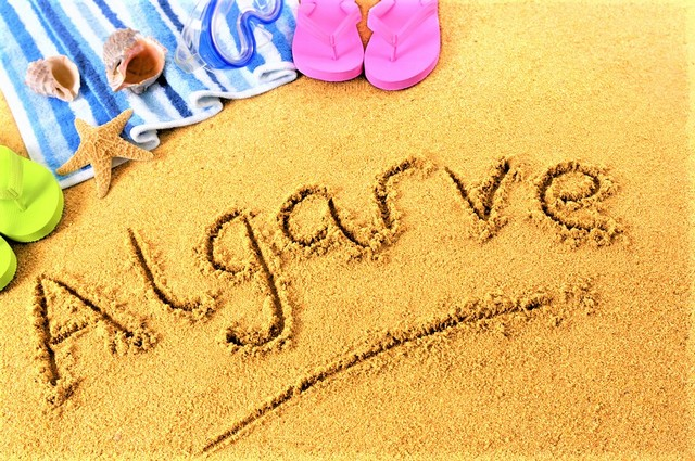 Algarve written in the sand