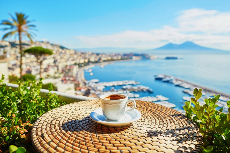 coffee in a cafe with view on Vesuvius mount in Naples, Campania, Southern Italy