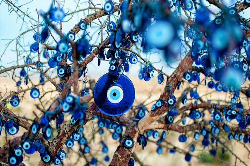 evil eye charms in tree
