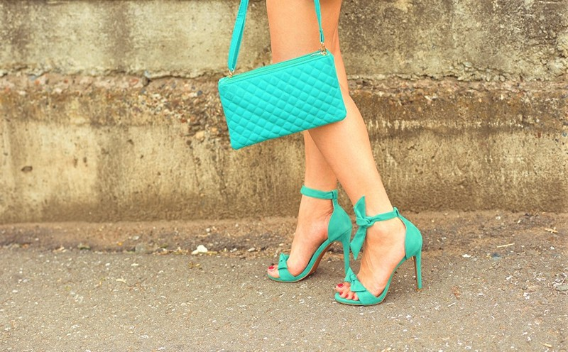green bag and shoes