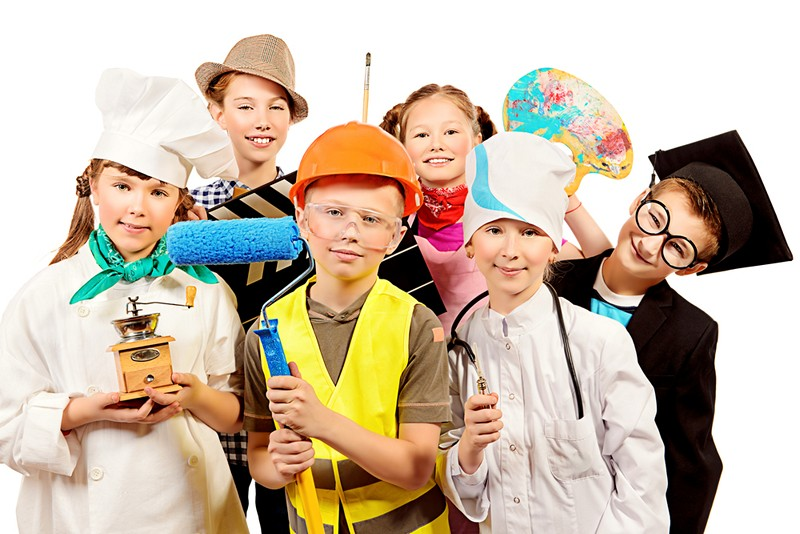Kidzania in Amadora Portugal, group of children pretending to be adults