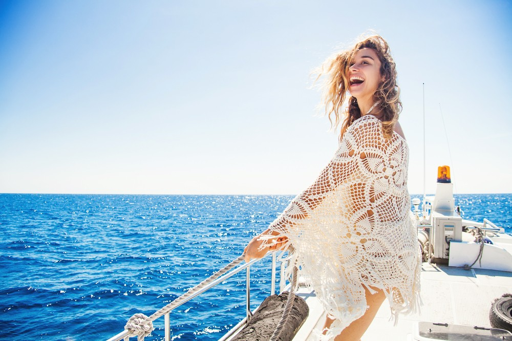 Malta woman on a boat with a shawl on