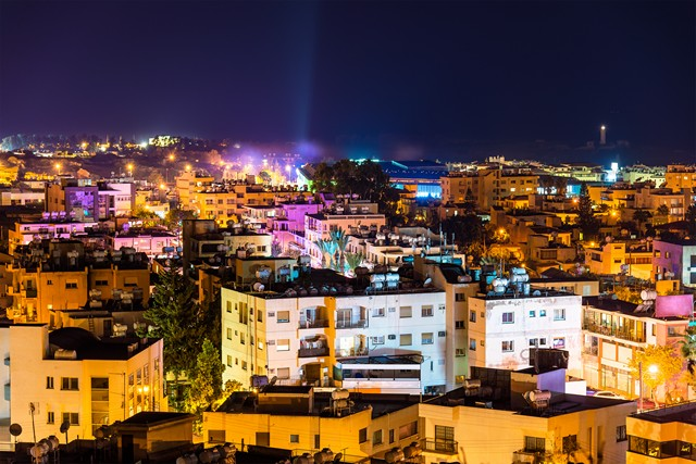 Paphos at night houses