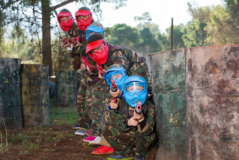 Mega Campo in Mafra, Portugal, kids playing paintball