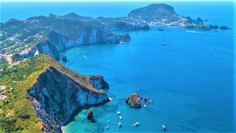 Ponza cliffs and water