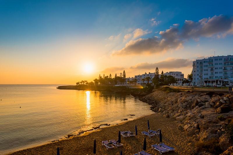 Sunset across the beach in Protaras