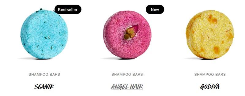 Three shampoo bars in bright colours