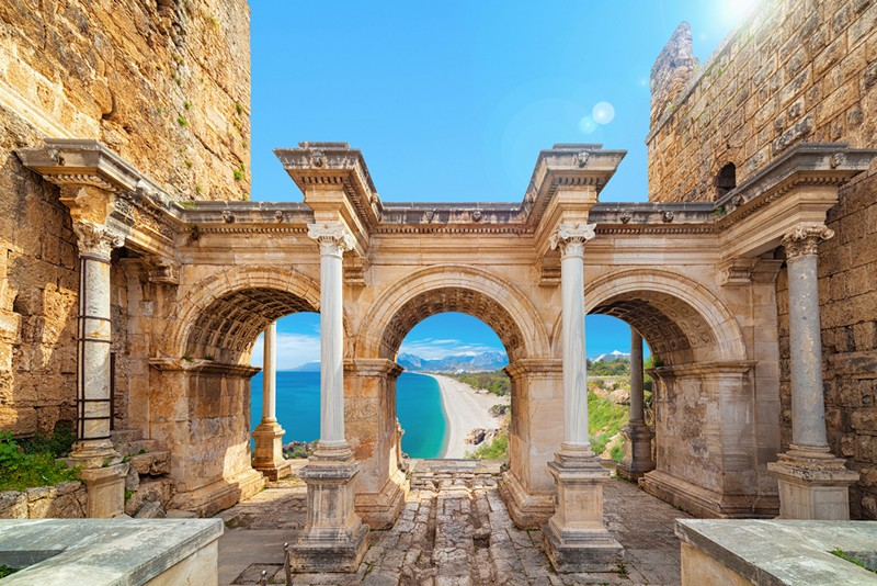 Hadrian's Gate old town Kaleici district, Turkey