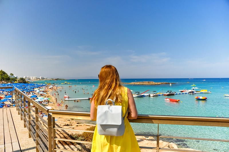Fig Tree Bay with woman admiring the view