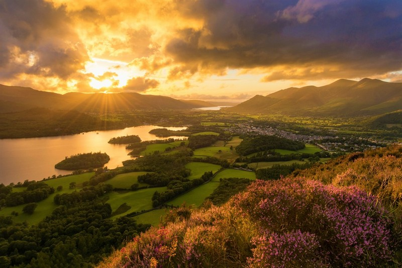 lakes and setting sun and heather