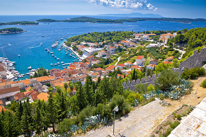 Amazing historic town of Hvar aerial view, with Paklenski islands sailing destination, Dalmatia, Croatia