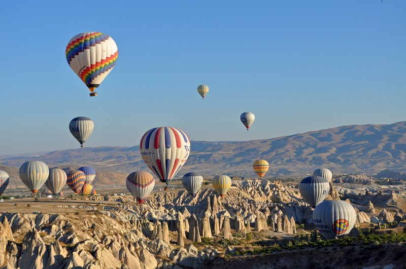 Hot air balloon flight over the rock formations of Goreme