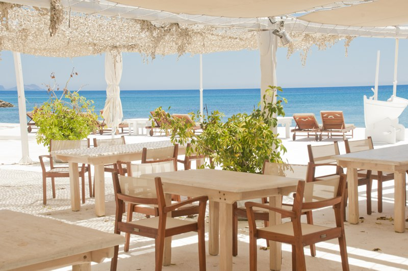 Restaurant by the beach in greece