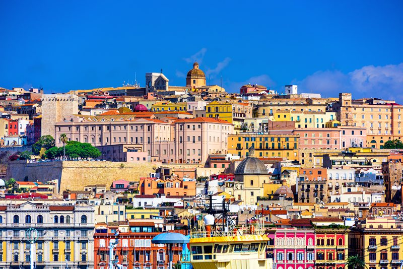 Colourful architecture of Cagliari, Sardinia's capital