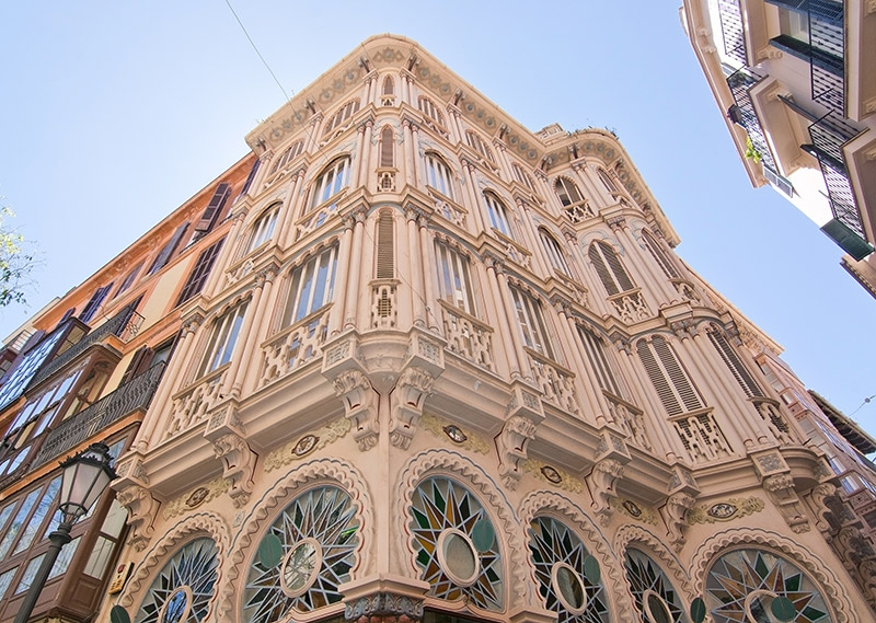 Can Corbella art nouveau building details in Palma de Mallorca, Balearic islands, Spain