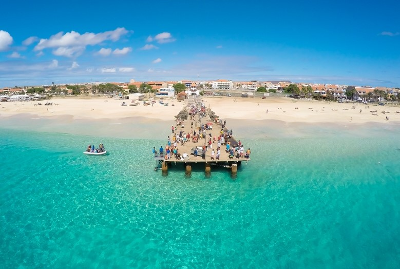 Aerial view of Santa Maria Beach in Sal, Cape Verde