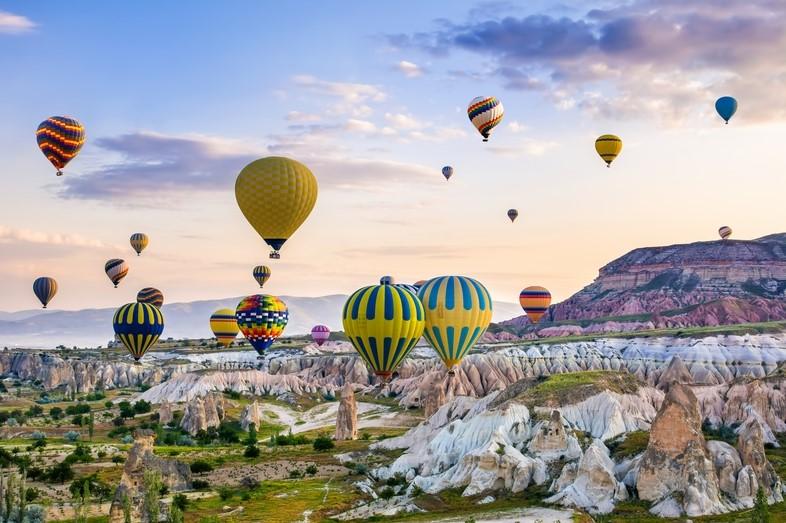 Air balloons flying over Cappadocia, Turkey