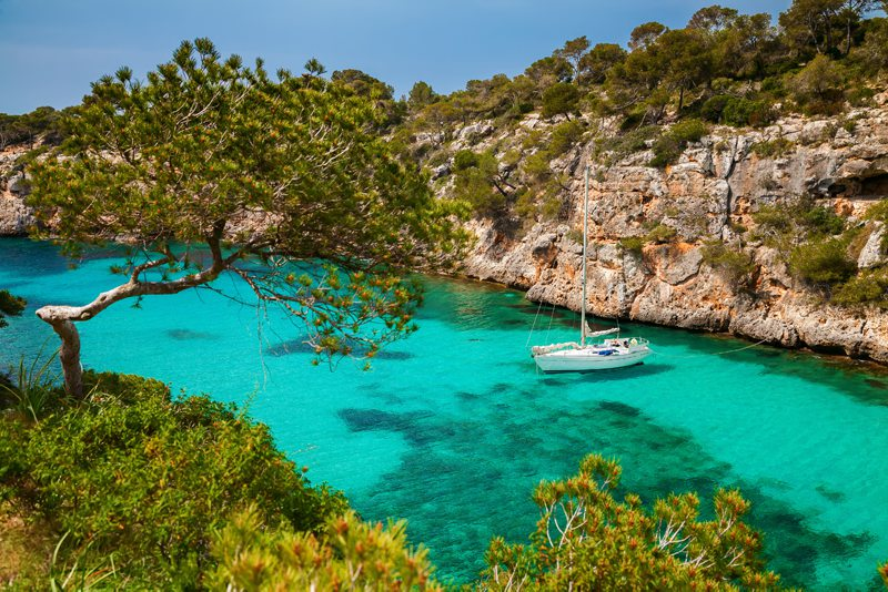 clear waters with boat for snorkelling Mallorca