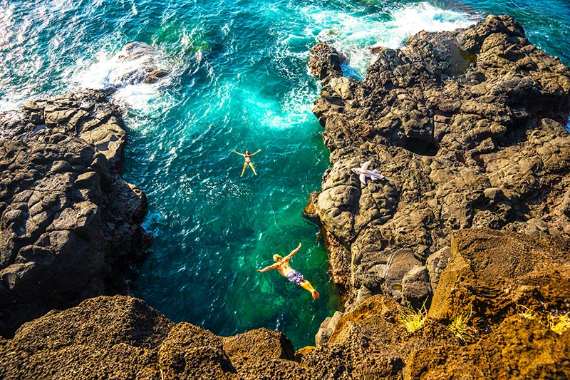 Cliff jumping in Mauritius