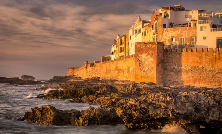 Old city walls in Essaouira, Morocco