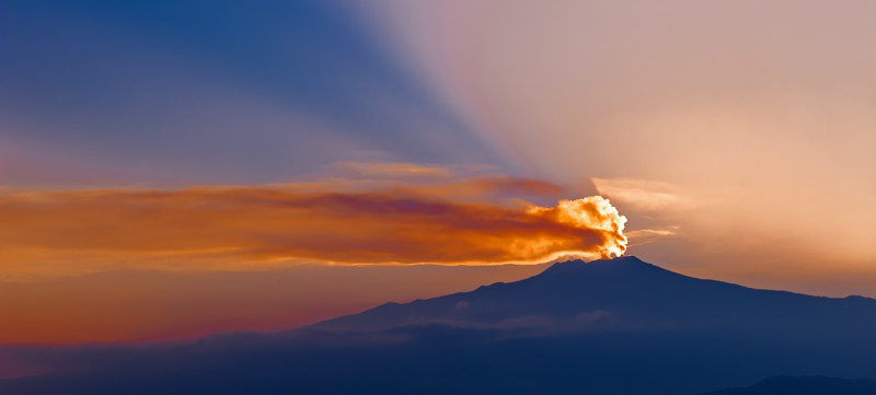 Sunset over Mount Etna in Sicily