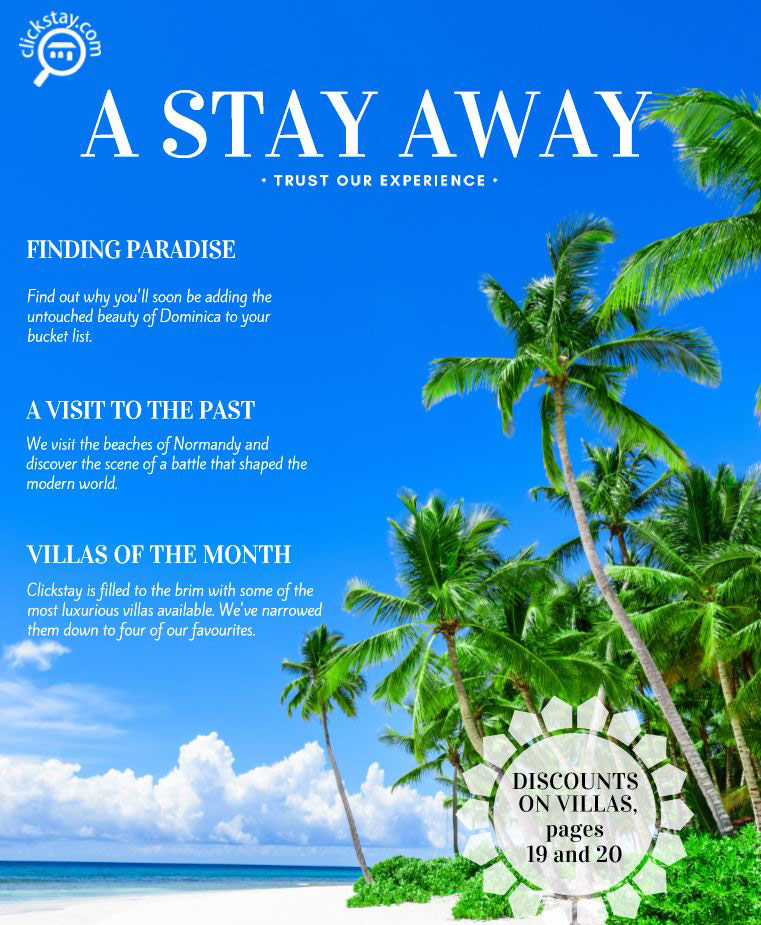 Front cover for 'A Stay Away' by Clickstay, travel magazine