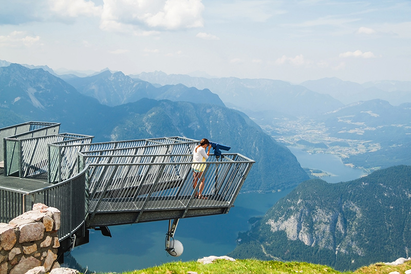 Five Fingers viewing platform at Dachstein Mountains. A famous tourist destination for hikes in Salzkammergut  Salzburger Land Clickstay