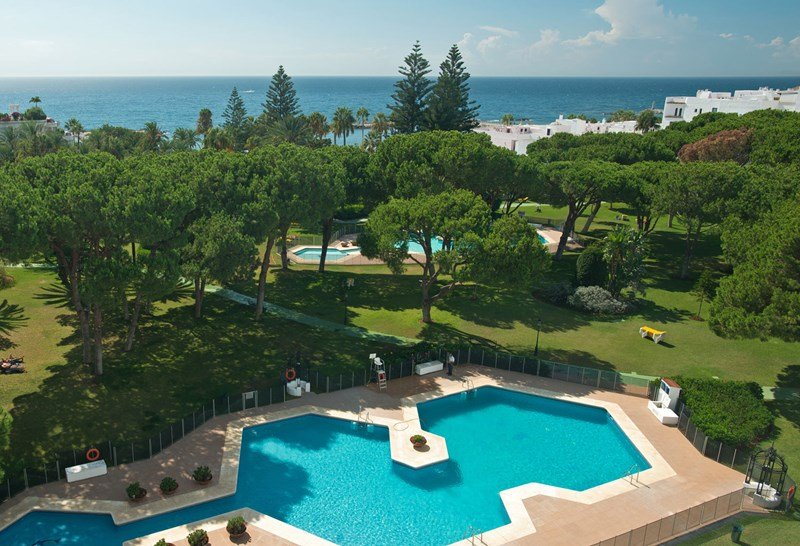 An aerial view of some of theClub Playas del Duque's tropical gardens