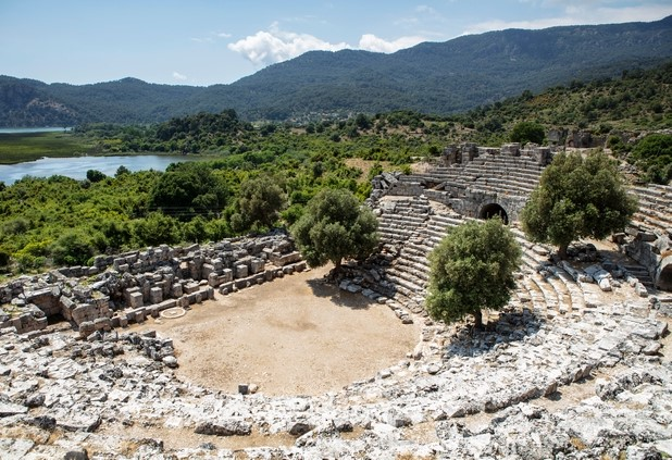 Amphitheatre ruins in Kaunos near Dalyan, Turkey