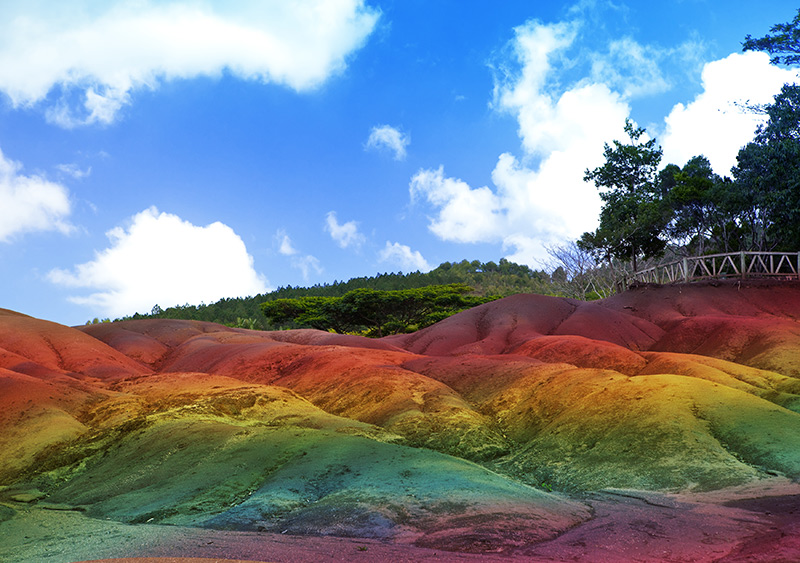 The colourful earth of Chamarel in Mauritius