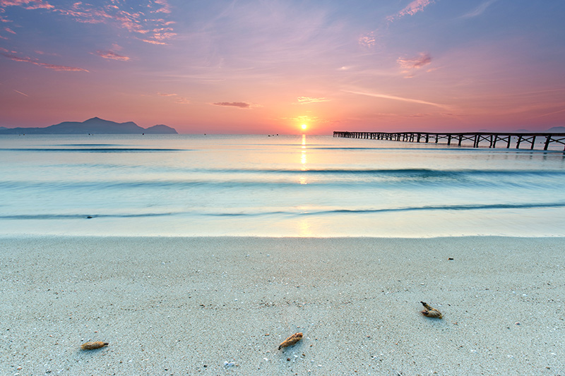 Muro beach sunrise in Alcudia Bay Mallorca at Balearic Islands of Spain