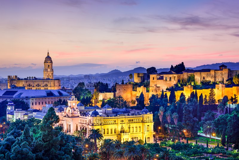 Malaga at sunset, Spain