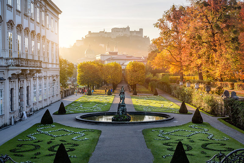 Mirabell garden at Stadt Salzburg in the morning in autumn, Salzburg, Austria