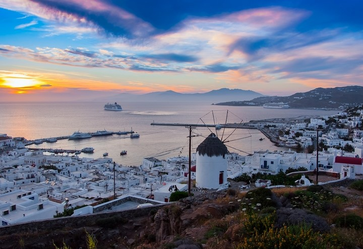 Sunset in Mykonos, Greece