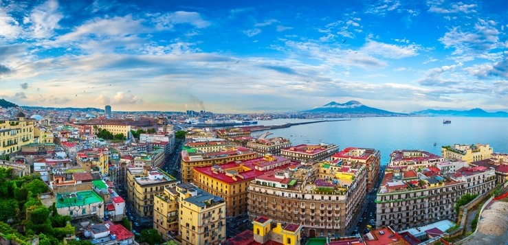 Panoramic view of Naples in Italy