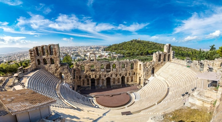 Odeon of Herodes Atticus in Athens City, Greece
