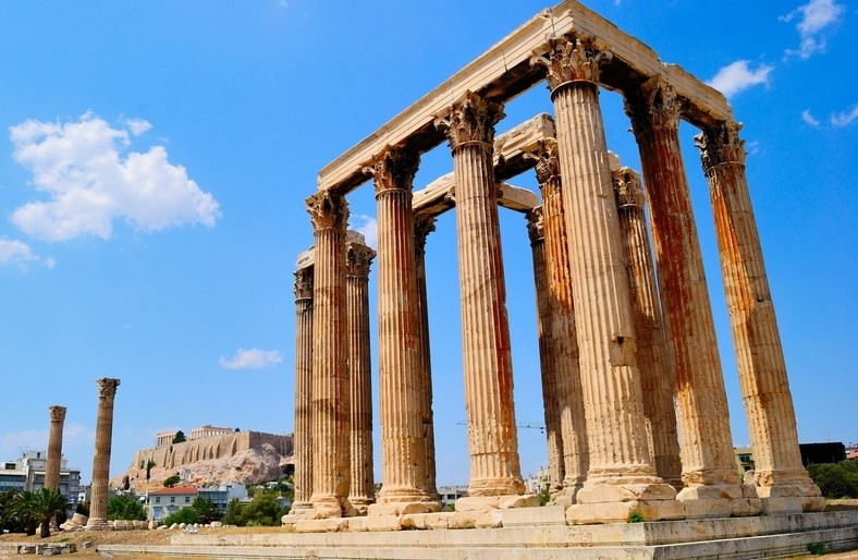 Temple of Olympian Zeus in Athens City, Greece