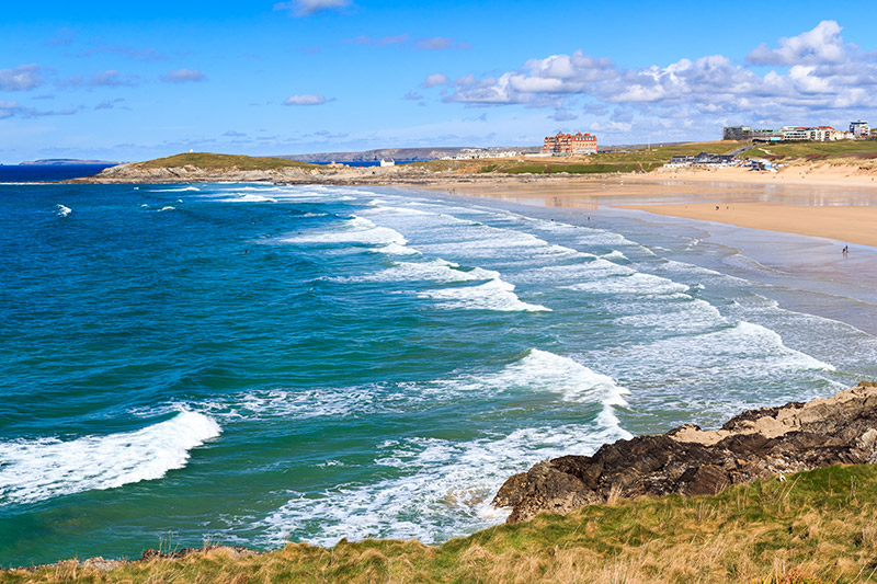 Overlooking Fistral Beach Newquay Cornwall England UK