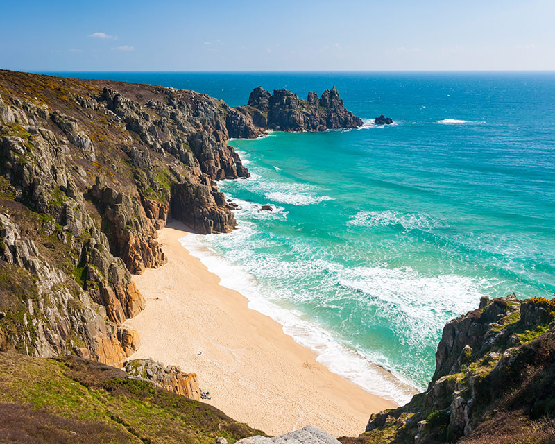 Overlooking Pedn Vounder Beach from Treen Cliffs Cornwall England UK
