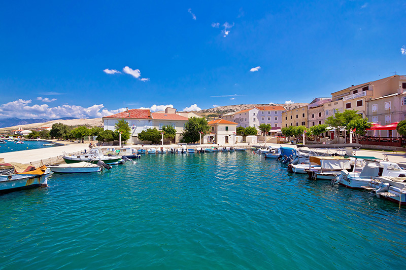 Pag island colorful waterfront view, Dalmatia, Croatia