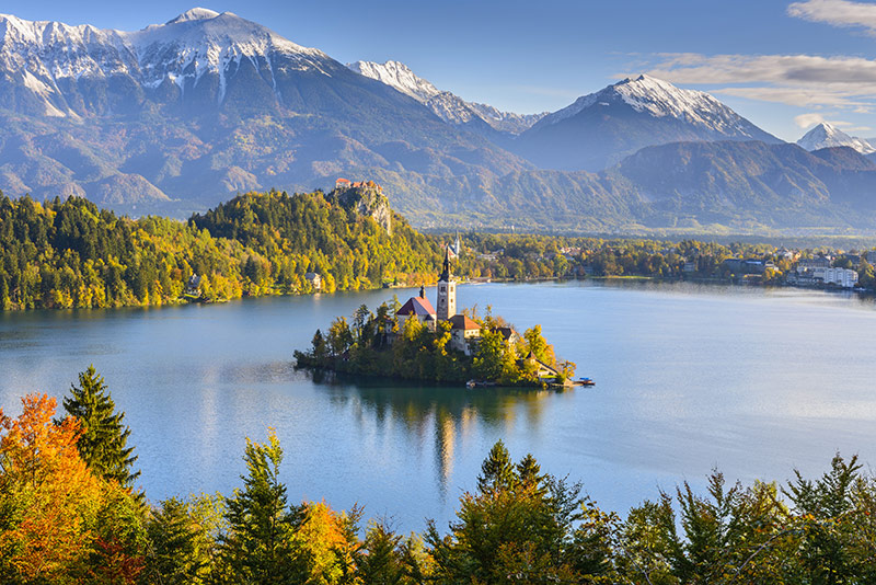 The famous and popular lake bled in Slovenia
