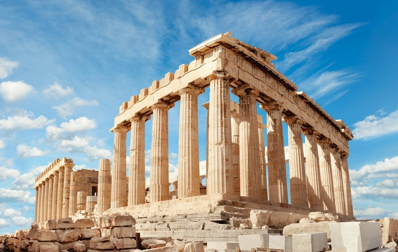 Parthenon on Acroplis Hill in Athens City, Greece
