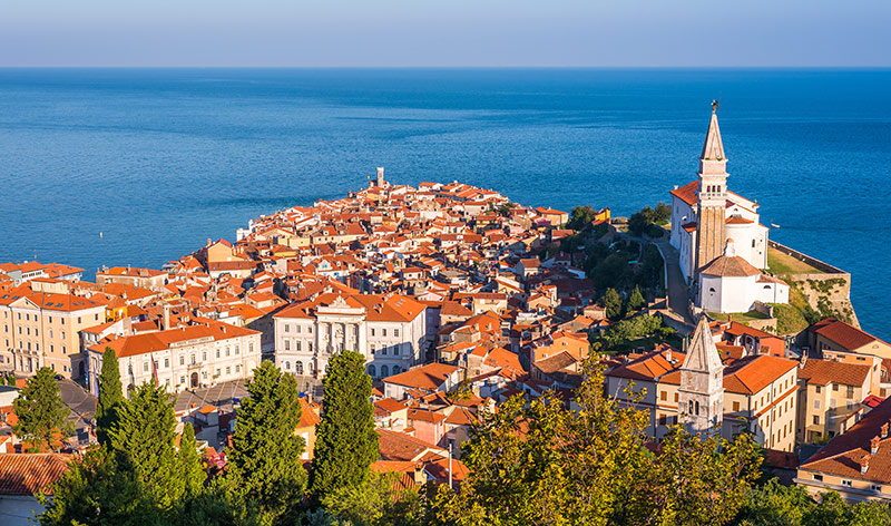 Old Town of Piran on Peninsula in Adriatic Sea, Slovenia